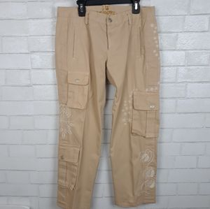 Johnny Was Embroidered Crop Cargo Pants D82